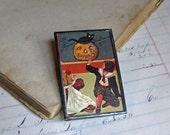 Halloween Pin, Original Postcard Jewelry, Inventory Sale