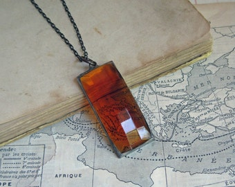 Amber Faceted Stained Glass Long Necklace Soldered Jewelry Autumn Boho