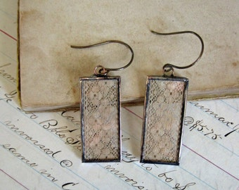 Antique Lace Earrings  Long Drop