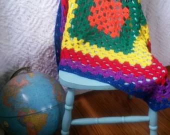 Hand Crocheted Rainbow Afghan