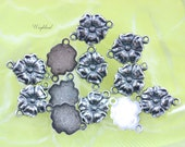 Ox Silver Filled 8x11mm Two Loops Flower Drops Very Small - 4
