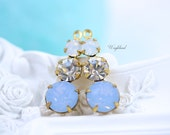 Blue Opal Crystal & White Opal Rhinestone Dangles Swarovski Round Set Stones 23mm Charms Brass Settings - 2