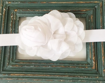 SALE White FLOWER Baby to Girl to Adult Skinny Stretch Headband Photograpy Prop