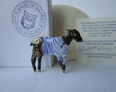 Black Lamb in Breton stripes and gold luster - Hand made Handpainted porcelain Brooch