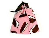 Pink Drawstring Bag Ice Cream Sandwich Treat Pouch Kitsch Chocolate Ice Cream Tote Bag