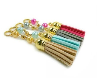 Planner Tassel Charm Glass Pearls Planner Charm Cell Phone Tassel Planner Accessories Personal Dust Plug Cell Phone Charm - 1pc