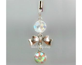 Planner Phone Charm Bow Iridescent Bead Charm Zipper Pull Silver Tone Charm