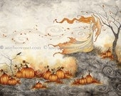 Whispers in the Pumpkin Patch autumn fall fairy 8X10 PRINT by Amy Brown