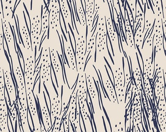 Navy, Freshly, Cut, Hyacinths, Meadow, Dark, Blue, Abstract, Ivory, Designer, Cotton, Art, Gallery, Fabrics, Baby, Unisex, In Custom Cuts