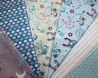 "63 Precut 6"" Squares, Organic, Cotton,Fabric, Woodland, Night,Animals,Blue, Turquoise,Grey,Baby,Boy, Exclusive Design,Prewashed,Ready to Sew"