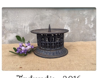 Pillar Candle Holder - Candle Holder - Cast Iron Candle Holder - Fleur De Lis Decor - French Country Decor - Architectural CHIC