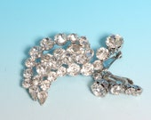 Crystal Rhinestone Brooch and Earrings Set Kramer Signed Wedding Diva