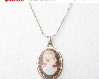 CIJ Sale Carved Shell Cameo Pendant Necklace Oval Gold Filled Vintage