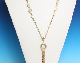 CIJ Sale Long Tassel Necklace Gold Tone Modernist Retro Vintage