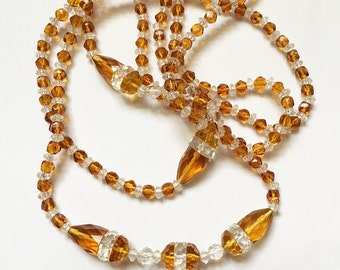 Art Deco Flapper Necklace Topaz and Clear Crystal Glass Beads Vintage