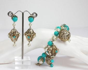 Chunky Charm Bracelet Earrings Set Turquoise Beads Faux Pearls Asian Lanterns