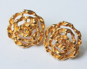 Floral Design Filigree Earrings Adjustable Clip Back Gold Tone Vintage
