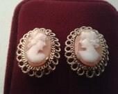 Vintage Earrings - Gold Cameo Clip Earrings