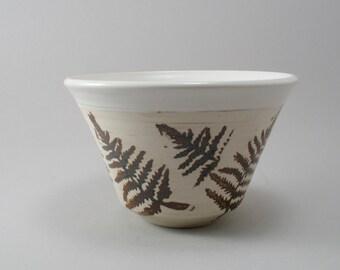 Fern Leaf Bowl - Ceramic Serving Bowl - Pottery - Stoneware Bowl - White - Rustic