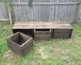 Rustic Furniture - Storage Cube Unit - Wood Cubby Organizer - 3 Cubbies - Bins - Custum