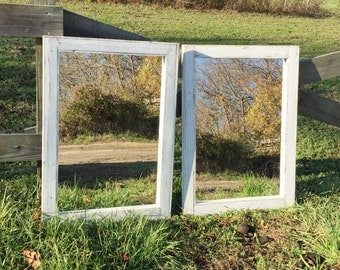 2 White Wash Mirrors Size 28 x 34 - Rustic bathroom Mirror Set For Double Vanity - Washed
