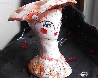Original clay art Mushroom Girl 1 OOAK by miliaart studio