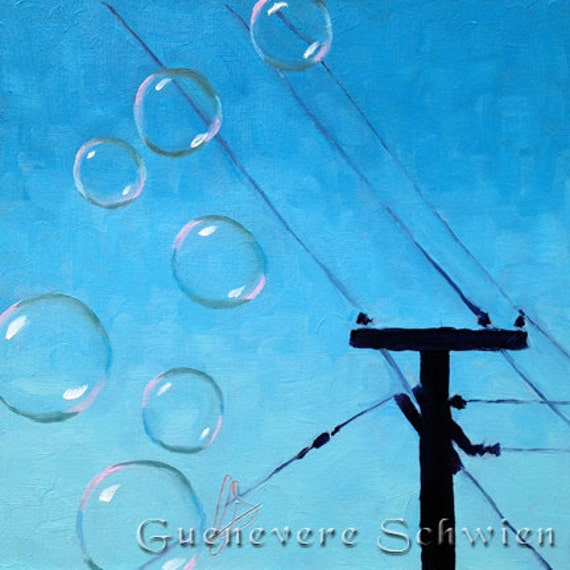 Bubble on a Wire Framed Original Oil Paintng
