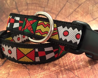 Dog Collar, Side Release Buckle, Op Art, In M, L, XL