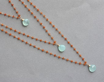 Orange and Blue, Carnelian, Blue Chalcedony, Layered Y Necklace, Gift for Wife, for Sister, for Mom, Multi layered Y Necklace, for Summer