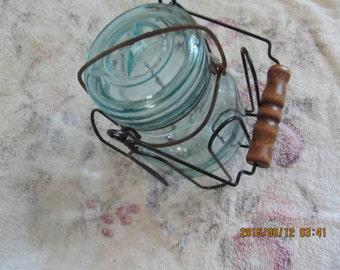 Vintage Canning Jar    Half Pint   with Holder