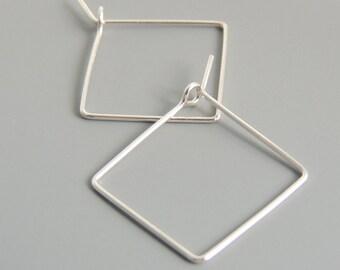 Square Hoops Sterling Silver Square 3/4 Inch Hoop Earrings Simple Minimalist Earrings