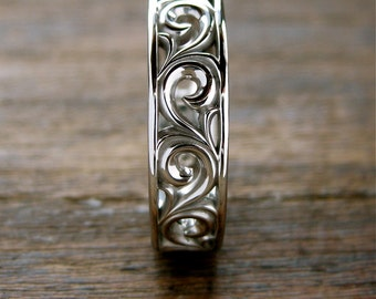 Scroll Wedding Band in Palladium with Fine Floral Pattern and Glossy Finish Size 10