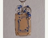 ON SALE Mah Jongg, vintage, tile pendant necklace, blue, crystals, sterling silver- MJ3