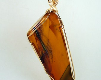 """Golden Brown Long Glass Freeform Pendant Necklace Thin Green Stripe  14k Gold Filled Wire Simply Wrapped Polished  3 1/2"""" x 1 1/2"""" P287"""