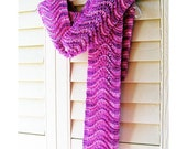 SALE 30% OFF - Hand Knit Scarf, Scalloped Lace, Thick Chunky Hand Dyed Wool, Fuchsia Pink Purple Lilac