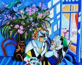 Original Art Print, Interior Still Life Room with Flowers Inspired by Marc Chagall by k Madison Moore