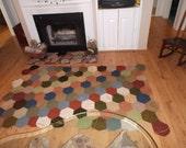 Retro Vibe Warm Hues Large Handmade Rectangular Crochet Rug or Afghan with Geometric Octogons