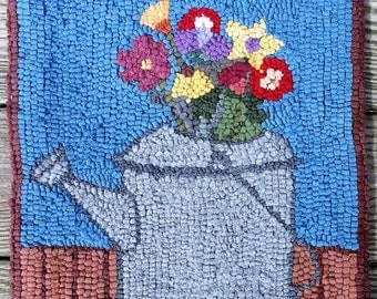 Watering Can of Wild Flowers Primitive Hooked rug by Sharon Perry