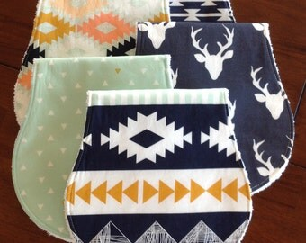 Burp Cloths-Aztec Burp Cloths-Boy Burp Cloths-Burp Clothes-Tribal Burp Cloths-Deer Burp Cloth Etsy-Baby Burp Cloth-Modern Burp Cloths