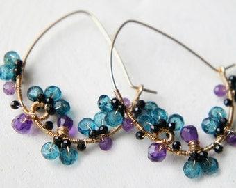 London Blue Amethyst Hoop Earrings, Dark Blue Purple Gemstones Jewelry, Gold Filled, Gift idea