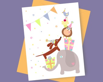 Dachshund Birthday Card - PartyWiener and Friends Card with Coordinating Envelope and Sticker in Girly Tones Elephant Owl Dog Card
