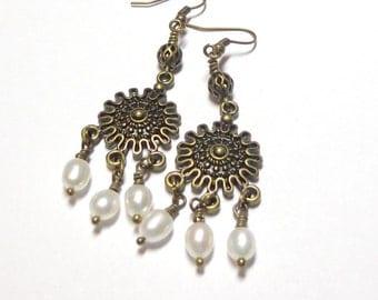 Pearl Earrings, Freshwater Pearl Earrings, Antique Brass, Vintage Style Earrings, Chandelier Earrings