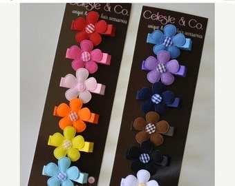SALE Baby Hair Bows - Infant Hair Clips - Baby Hair Clips - Rainbow - 12-Pack Alligator Clips - Babies, Infants, Toddlers and Girls