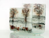 Fused glass napkin holder, brigh black red  trees, white landscape , House warming gift, Hostess gift, Home decoration