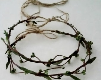 Simple Stefana crown natural look green berry color choide twine tie hair wreath Bridal Greek wedding accessories Primitive vine flower halo