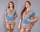 Vintage 70s DASHIKI TOP / 1970s Soft Draped Cotton Ethnic Festival Kimono Sleeve Tunic Shirt