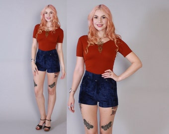 Vintage 70s VELVET SHORTS / 1970s High Waisted Sailor Button Blue Crushed Velvet Hot Pants xs