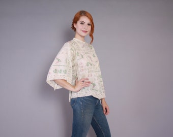 Vintage 70s Boho TOP / 1970s HUMMINGBIRD Print Ivory Cotton Bell Sleeve Crochet Trim Blouse