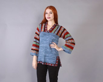 Vintage 70s SWEATER / 1970s Space Dyed Blue Striped Boho Bell Sleeve Pullover Knit Top xs-s