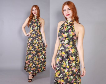 Vintage 70s MAXI DRESS / 1970s Black Floral & Polka Dot Halter Backless Long Boho Dress xs